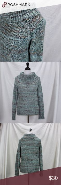 Anthropolgie Moth Sweater Anthropolgie Moth Sweater Size Medium. Fits roomy. Heavier knit wide mock turtleneck. Beautiful sea blues with auburn flecks. Blend of acrylic, alpaca, silk and wool. Excellent used condition.  Thanks. Anthropologie Sweaters Cowl & Turtlenecks