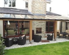 Cozy House Backyard Extension Design Ideas: Inspiring Pergola With Transparent Roofing For Cozy Outdoor Patio Of Malahide House Completed Fo...