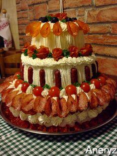** Dort třípatrový salámový ** Sandwhich Cake, Salad Cake, Hors D'oeuvres, Savoury Cake, Food Design, Finger Foods, Food Art, Catering, Healthy Lifestyle