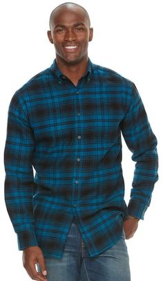Big & Tall Croft & Barrow® True Comfort Plaid Classic-Fit Flannel Button-Down Shirt, Men's, Size: Xl Tall, Blue Nick Miller, Mens Flannel, Big & Tall, Slim Man, New Girl, Button Downs, Men Casual, Plaid, Long Sleeve