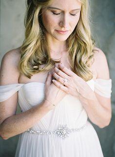 Ethereal Wedding Dress with a Crystal Sash | Heather Payne Fine Art Photography | http://heyweddinglady.com/enchanted-garden-wedding-colorful-summer-florals/