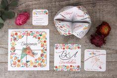 Faire-part sur-mesure et menu format cocotte associée, dans un mélange de fleurs aquarellées dans les roses et pêches... Creations, Menu, Roses, Diy, Frame, Home Decor, Dutch Oven, Paper Mill, Bonheur