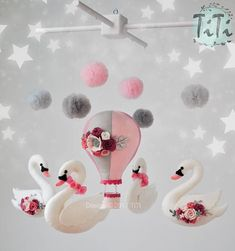 Personalized felt baby mobile mobile with hot air balloon