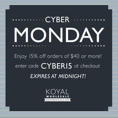 Enjoy our Cyber Monday 15% savings throughout the entire site today! #cybermonday