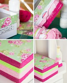 Make shoe boxes into cute storage oxes with some fabric and yarn