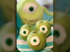 MIKE WAZOWSKI APPLES  If your child is a fan of 'Monsters University,' this simple trick will transform a regular green apple into a little Mike Wazowski. Click on the photo for a step-by-step instructional.   (Source: Sara Wellensiek/Mom Endeavors)