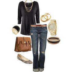 Black with leopard flats. I love this shirt. Very classy.