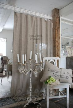 Burlap curtain from Tracey over at French Larkspur - found on gypsyfleamarket.blogspot