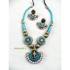 Terracotta Jewellery_Lakshmi_Blue gold  https://www.facebook.com/maitricrafts.maitri https://www.facebook.com/maitri.crafts maitri_crafts@yahoo.com