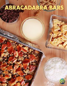 Our Abracadabra RITZ Bars. 5 ingredients: crackers, coconut, chocolate chips, walnuts, and sweetened condensed milk. Just Desserts, Delicious Desserts, Yummy Food, Eat Dessert First, Dessert Bars, Cookie Recipes, Snack Recipes, Snacks, Coconut Chocolate