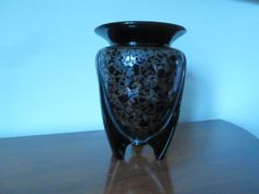 ART DECO BLACK GLASS ROCKET VASE with SILVER OVERLAY