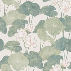 Customize any space or decor with Neutral Lily Pads Peel and Stick Wallpaper by RoomMates. Offering a fresh new alternative to decorating with very little commitment, use Peel and Stick Wallpaper for more than just walls. Great for upgrading walls, f Self Adhesive Wallpaper, Wallpaper Roll, Peel And Stick Wallpaper, Wallpaper Backgrounds, Iphone Wallpaper, Green Wallpaper, Bathroom Wallpaper, Asian Wallpaper, Vinyl Wallpaper