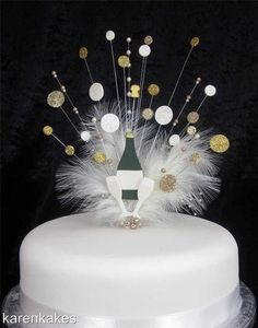 CHAMPAGNE BOTTLE CAKE TOPPER WITH 'BUBBLES' & AGE 21st 30th 40th 50th | eBay