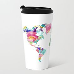 Watercolor world map travel mug original painting by world map metal travel mug stainless steel travel mug with lid gift for men gumiabroncs Choice Image