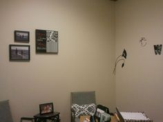 The wall decal is great, it is easy to move. Simple black and white family photos look good in a black frame.