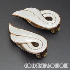 1960's J. Tostrup Norway 925 Silver Gold Washed White Enamel Swirl Cli – Gold Stream Boutique
