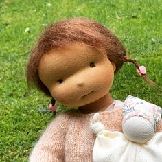 Isla - a 16''/42 cm tall Handmade Waldorf Doll | > Available Dolls | MonPilou Organic Cleaning Products, Waldorf Dolls, Doll Clothes, Teddy Bear, Handmade, Animals, Baby Doll Clothes, Animaux, Craft