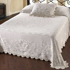 One Allium Way Erich Matelasse Single Quilt Size: Twin, Colour: Wedgewood Blue Ruffle Bedding, Quilt Bedding, Linen Bedding, Bed Linens, Queen Sheets, Bed Sheets, Toddler Girl Bedding Sets, Single Quilt, Amity Home