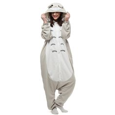 Kawaii Totoro Anime Cosplay Halloween Costumes Winter Homewear Sleepwear for Teens Leisure Family Mens Womens Pajamas Jumpsuit Onesies Cheap