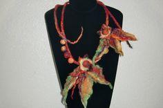 Handmade Floral Felt necklace. Natural wool. Felt jewelry'. $55,00, via Etsy.