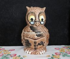 Owl Cookie Jar/ School Teacher Owl/ 1950s Cookie Jar/ Mid Century Cookie Jar/ Collectibles/ Gifts/ Retro Kitchen/ Teacher Gifts by TwoCousinsCollection on Etsy
