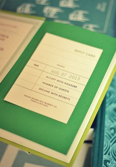 wedding rsvp; book check out card