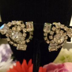 Vintage Kramer Rhinestone Earrings that are Triangularly Shaped set in Silvertone and Signed by CCCsVintageJewelry on Etsy FREE SHIPPING ON ALL ITEMS IN THE STORE OVER 500
