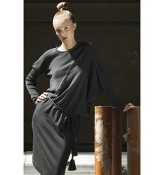 Helga is an assymmetric dress in soft merino wool with a beautiful belt with big pom poms. Autumn Winter 2015 - Heart of Lovikka Swedish Fashion, Fall Winter, Autumn, Fall Collections, Asymmetrical Dress, Pom Poms, Merino Wool, High Neck Dress, Belt