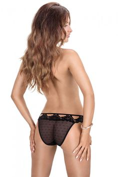 Falka Patterned Mesh Brief | Roza Underwear. Cute, stretchy, patterned mesh brief with beautiful floral lace trim. Lace panty, beautiful brief, women's underwear. #panty #underwear #lingerie