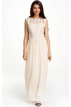 3da7112c445820 SheIn offers Apricot Sleeveless Floral Crochet Lace Ball Maxi Dress   more  to fit your fashionable needs.