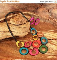 Black Friday Sale Colorful Tagua Necklace by ArtisansintheAndes