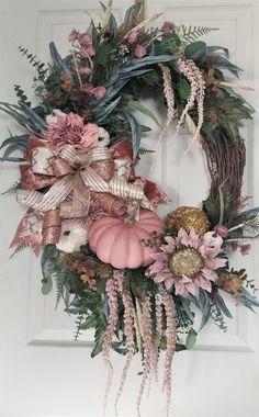 Pink Pumpkin Wreath- Fall Glam/Rose Gold/Sunflower on 24 Grapevine Thanksgiving Wreaths, Autumn Wreaths, Holiday Wreaths, Wreath Fall, Grapevine Wreath, Door Wreaths, Ribbon Wreaths, Floral Wreaths, Burlap Wreaths