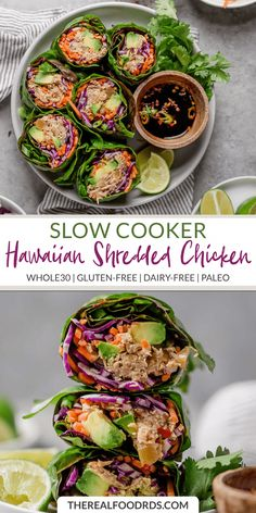 Slow Cooker Hawaiian Shredded Chicken is the perfect blend of sweet and savory. It's a recipe that's great for leftovers and can be served warm or cold. Whole Food Recipes, Diet Recipes, Cooking Recipes, Healthy Recipes, Paleo Food, Easy Paleo Meals, Whole 30 Easy Recipes, Paleo Salad Recipes, Paleo Meal Prep