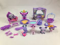 Huge LOT of Littlest Pet Shop PURPLE Dog, Fairy, Accessories and Animal Pets! #Hasbro