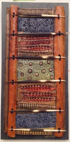 http://bluespiral1.com/ VICKI  GRANT 14079 - Botanical Porcelain & mixed media on slate   8 x 16 in