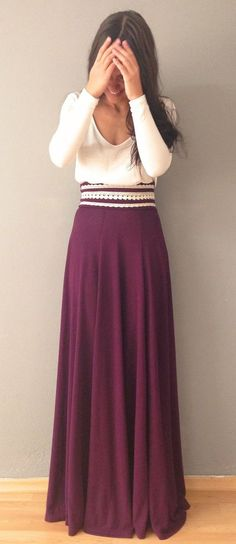 Ivory Top + Dark Red Maxi Skirt Outfit