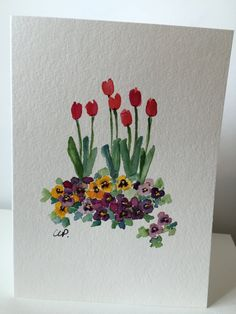 Your place to buy and sell all things handmade Spring Garden Watercolor Card / Hand Painted by gardenblooms Watercolor Projects, Easy Watercolor, Watercolor Cards, Watercolor Illustration, Watercolour Painting, Watercolor Flowers, Painting & Drawing, Watercolors, Art Floral