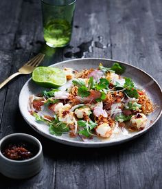 Prawn and pomelo salad with roasted chilli dressing recipe :: Gourmet Traveller 12  o