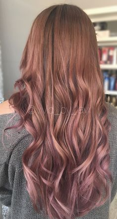 Dusty rose done by @vivid_by_lavi (instagram) balayage & color specialist , on @haleynichol ! Book an appointment with her today! Blonde to rose gold ombré brown hair @bloniestexas blondies salon , curls , waves , hairstyles long hair