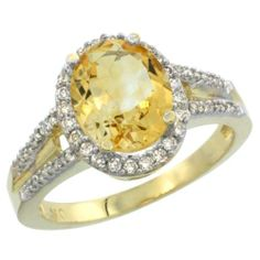 10K Yellow Gold Natural Citrine Ring Oval 10x8 Stone Diamond Accent, sizes 5-10 - http://fashion.designerjewelrygalleria.com/rings/engagement-rings-rings/10k-yellow-gold-natural-citrine-ring-oval-10x8-stone-diamond-accent-sizes-5-10/