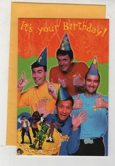 Original Wiggles Unused Birthday card Greg, Murray, Jeff and Anthony