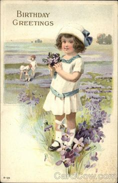Birthday Greetings - Young Girl with Flowers Series B-124