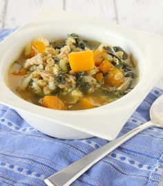 This chicken barley soup could easily pass for comfort food but it is packed with kale and squash so you don't need to feel guilty about eating it! I mentioned earlier this week that stir-fry is one of my 'clean-out the fridge' meals. Well, so is soup. And spaghetti too, for that matter. Apparently I'm always cleaning out my fridge. Not cleaning my fridge (obviously), cleaning out my fridge. Let's not get confused here. Cleaning OUT the fridge happens for a number of reaso...