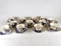 12 Booths Scale Blue Exotic Birds Silicon China Tea Cups and Saucers
