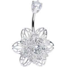 925 Sterling Silver Clear CZ 3D Bursting Flower Belly Ring