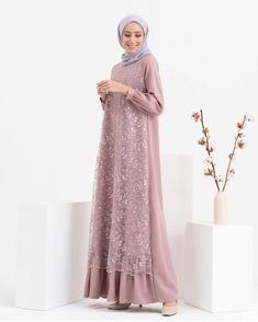 Dress Brukat, Hijab Dress Party, Hijab Style Dress, Kebaya Dress, Dress Pesta, Batik Dress, Dress Outfits, Casual Outfits, Modern Hijab Fashion