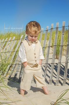 Toddler Boys Suit Tan Color Vest Shorts Or by SummerGemBoutique