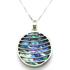 """Looking Glass Window is an 18"""" Long Abalone Pendant With a Sterling Silver Bezel and Design Across the Shell. Chain is a Sterling Silver Box Style with a Closed Ring Clasp. Product #16-002"""