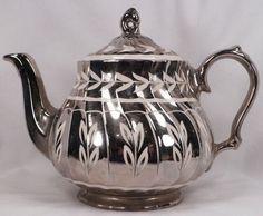 Leaves on Silver Luster Teapot Sadler Pottery