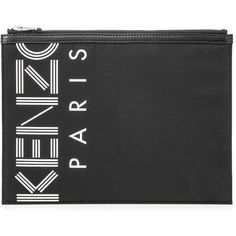 Kenzo Sport A4 Pouch (152,405 KRW) ❤ liked on Polyvore featuring bags, handbags, clutches, black, nylon purse, pouch handbags, print purse, nylon pouch and sport pouch
